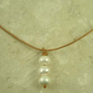Leather/Pearl Choker NecklaceUp Close-0