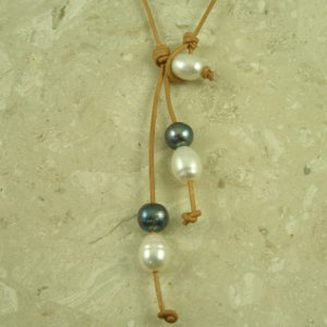 Leather/Pearl Lariat NecklaceLooped-0