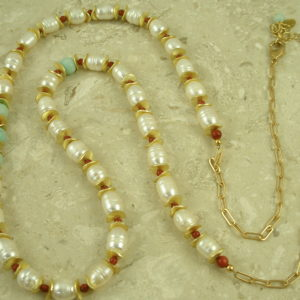Unique Pearl/Mixed Golden Long Adjustable NecklaceThe Discs-0