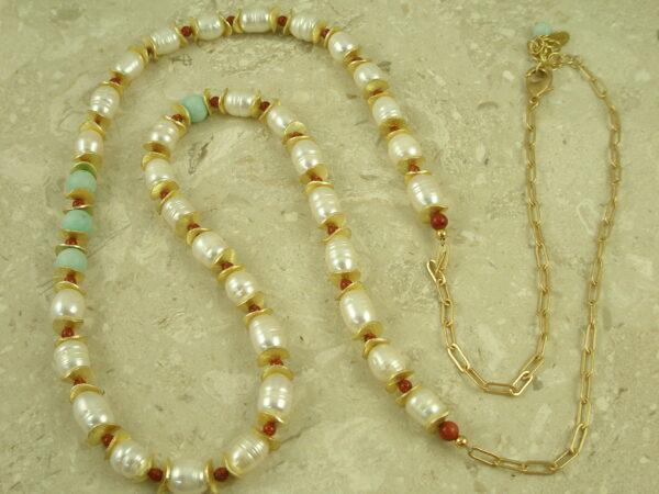 Unique Pearl/Mixed Golden Long Adjustable NecklaceThe Discs-0