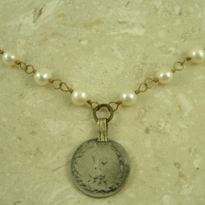 Pearl Medallion Pendant Long NecklaceBoHo-0