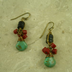 Artsy Handcrafted Turquoise EarringsLovely Mix-0