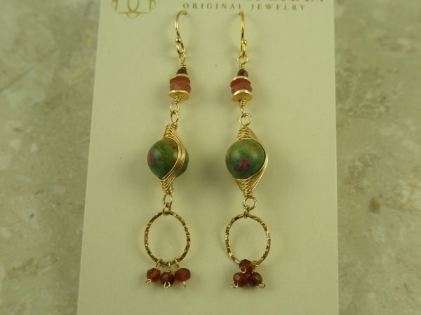 Original Handcrafted Stone Dangle EarringsTrio-0