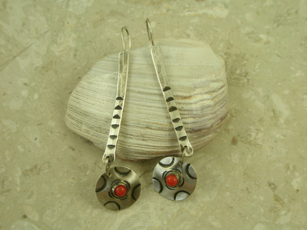 Hand Tooled Long Sterling Silver/Coral EarringsRed Dot-0