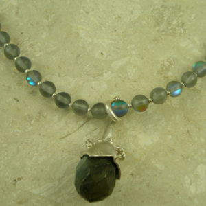 "German Glass ""Labradorite"" Pendant NecklaceFooler-0"