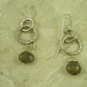 Handcrafted Sterling Silver/Stone Dangle EarringsGet Hammered-0