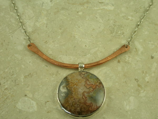Contemporary Crafted Two Toned Sterling Pendant NecklaceCopper Swing-0