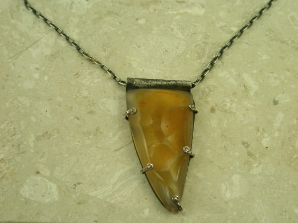 One Of A Kind Oxidized Sterling/Stone NecklaceArrowhead-0