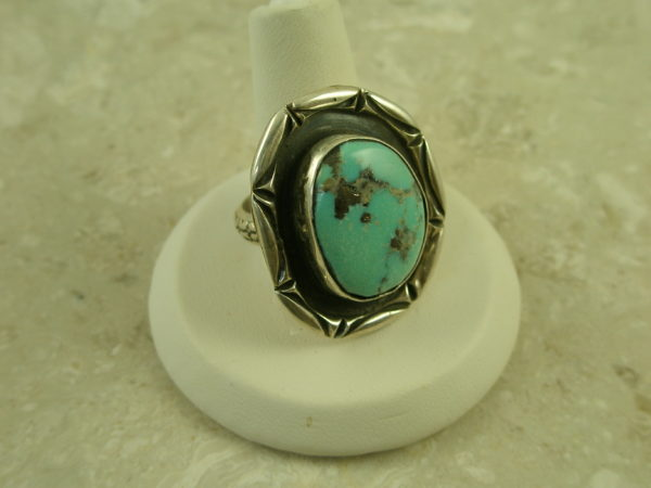 Native American Crafted Sterling Turquoise RingCircle Round-0