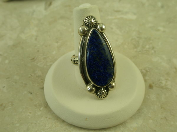 Native American Crafted Sterling Lapis RingGold Specks-0