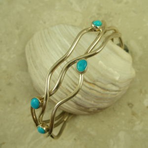 Native American Crafted Sterling Silver/Turquoise Cuff BraceletWaves-0