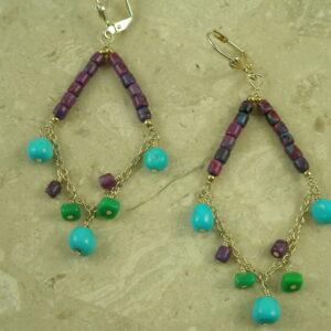Southwestern Turquoise Chandelier EarringsPurple Swing-0