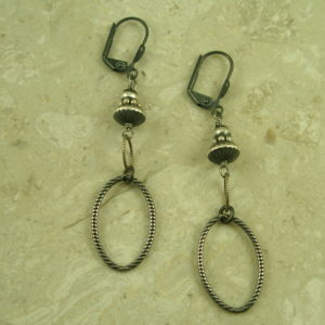 Native American Gunmetal Sterling Silver Dangle EarringsDark Beauty-0