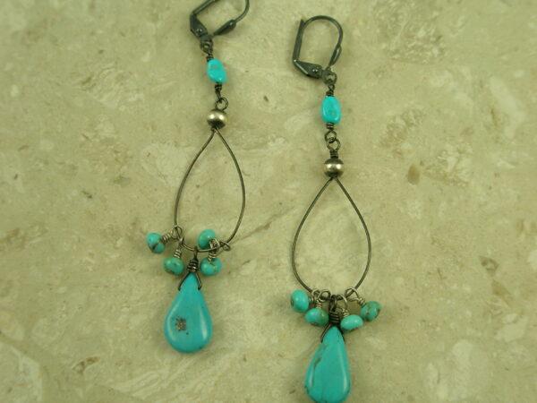 Gunmetal Sterling Silver Turquoise Dangle EarringsDelicate Drop-0