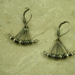 Gunmetal Sterling Silver Native American EarringLittle Fan-0