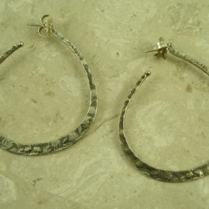 Native American Stamped Large Sterling Hoop EarringMac Daddy-0