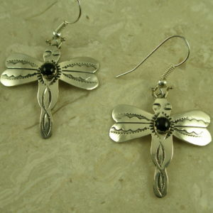 Native American Sterling Silver Dragonfly EarringsBuzz-0