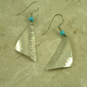 Native American Sterling Silver Etched EarringsSail Away-0