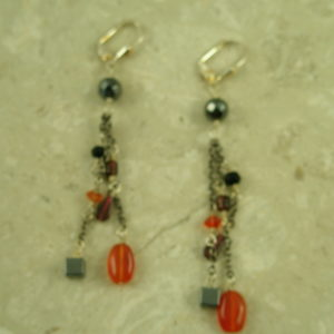 Sterling Silver/Natural Stone Dangle EarringsGood Mix-0