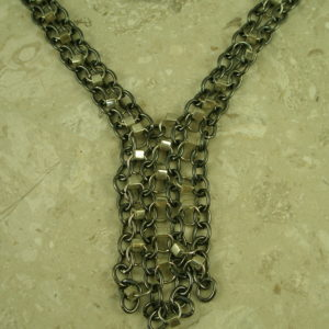Stainless Steel Gunmetal Chain NecklaceSilver Neck-0