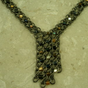 Mixed Metals Stainless Steel Chain NecklaceClose Up-0