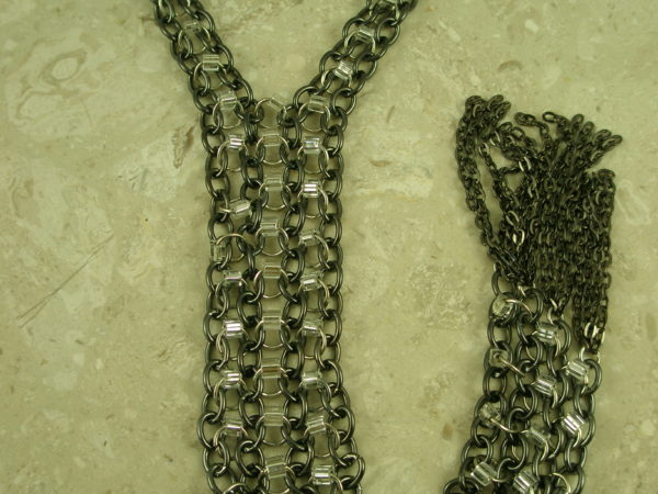 Stainless Steel Long Statement NecklaceChained-0