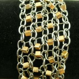 Chain Mail Two Toned Link BraceletCha Cha Chain-0
