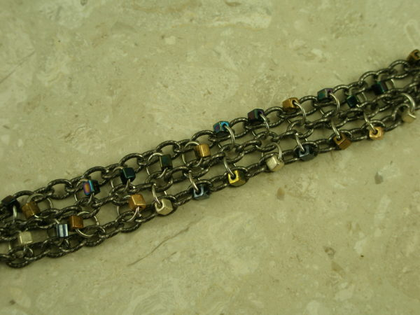 Three Strand Gunmetal Stainless Steel/Bead BraceletLil'Chain-0