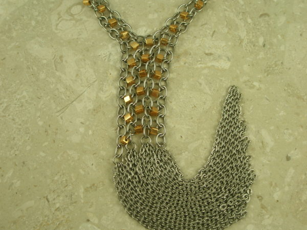 Two Toned Stainless Steel Long Fringe NecklaceChained Up-0