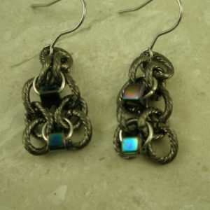 Gunmetal Stainless Steel Dangle EarringsBlue Bit-0