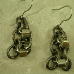 Stainless Steel Chain EarringsSilver Cube-0