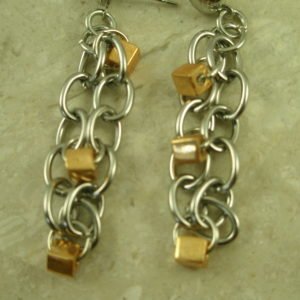 Two Tone Stainless Steel Post EarringsChained-0