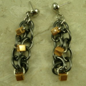 Tri Tone Stainless Steel Chain EarringsThe Trio-0