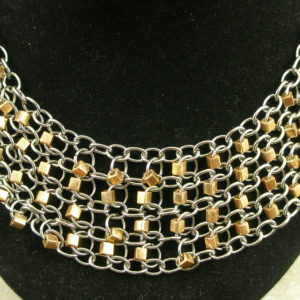 Stainless Steel Two Tone Bib NecklaceCleo-0
