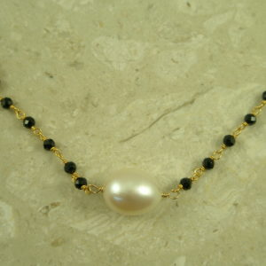 Genuine Spinel/Pearl Gold Filled NecklaceNight Day-0