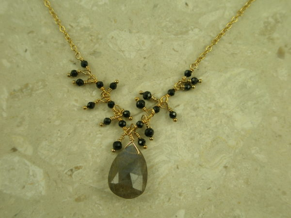 Delicate Spinel/Labradorite Drop NecklaceSweet Beauty-0