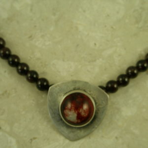One Of A Kind Garnet/Pottery NecklacedWine-0