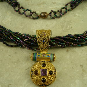 Handcrafted Gold Vermeil Filigree Pendant/NecklacePurple Queen-0