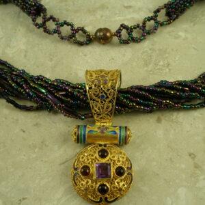 Handcrafted Gold Vermeil Filigree Pendant/NecklacePurple Queen-0