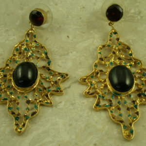 Elegant Golden Filigree/Stone Statement EarringThe Biggie-0