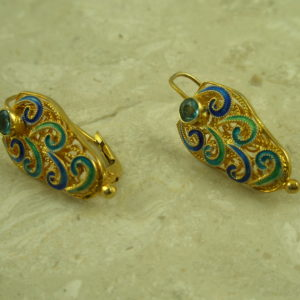 Gold Vermeil Filigree Blue Topaz EarringThe Shield-0