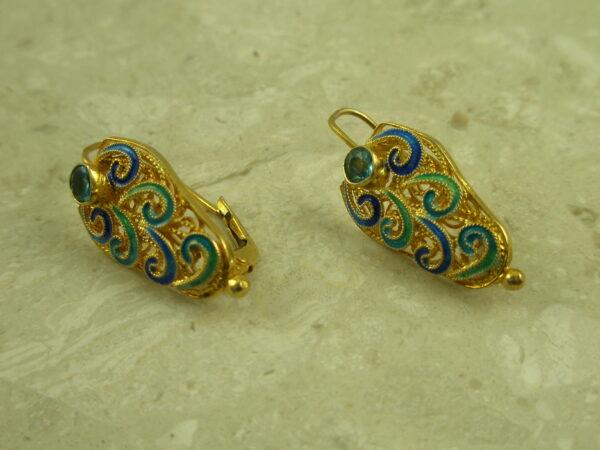 Gold Vermeil Filigree Blue Topaz EarringThe Shield-0