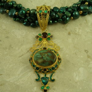 Multi Pearl Strand/Filigree Gold Stone PendantGreen Goddess-0