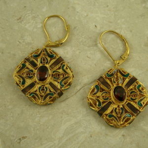 Gold Vermeil Filigree Garnet Statement EarringsRoyal-0
