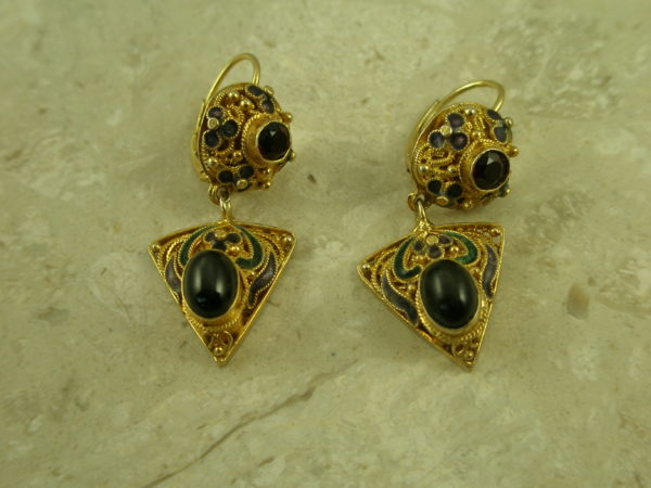 Crafted Filigree Gold Vermeil/Stones EarringTwo Part-0