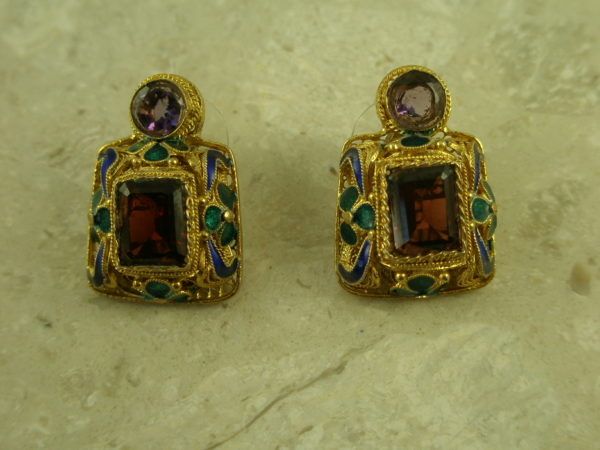 Artisan Gold Filigree And Stone Statement EarringThe Queen-0