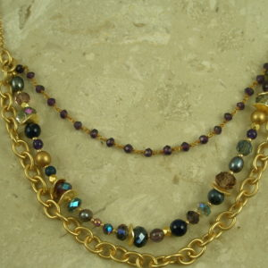 Golden Stone And Crystal Multi Strand NecklaceMidnight-0