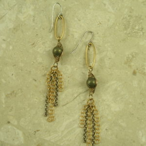 Golden Pearl And Chain Dangle EarringsChained-0