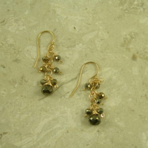 Golden Pyrite Handcrafted Dangle EarringSparkle-0