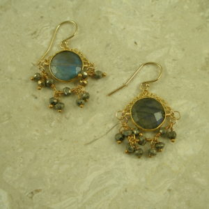 Handcrafted Golden Pyrite And Labradorite Drop EarringToo Pretty!-0